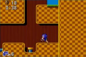 Olha a Green Hill Zone aí! Não possui os incríveis loopings da versão do Mega, mas possui uma pequena parte subterrânea interessante que a versão de 16 bits não tem.