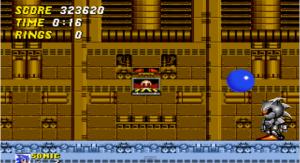 """Olhem aí o tal do """"Sonic Robô"""" que me deu dor de cabeça. E o maldito do Robotnik ali só de olho. Depois ele mostra que é o ser mais rápido do universo (do jogo)  fugindo numa boa do ouriço super veloz."""