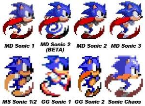 Comparativo entre várias versões do Sonic no Master e no Mega (não vou repetir a imagem nos posts futuros, prometo).