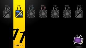 Calendário de Persona 4, que aparece nas passagens dos dias.