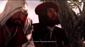Ézio, o protagonista de Assassin's Creed II, conversando com Leonardo da Vinci. Muitas coisas do gênio são citadas no jogo de uma forma ou de outra.