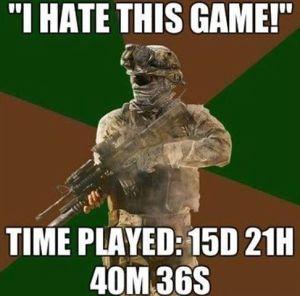 """""""Eu odeio este jogo - Tempo jogado: 15 dias, 21 h 40 m e 36 seg). Pior que conheço gente assim."""