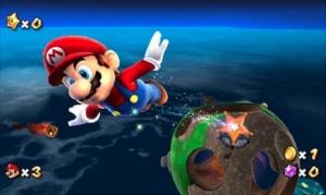 Mario voando de planeta para planeta.