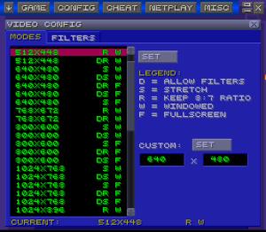 Configuração de resolução e filtro existem em alguns emuladores.