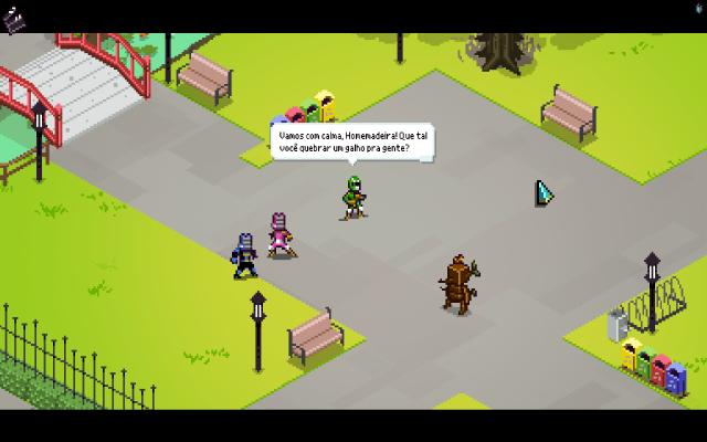 Trocadilhos infames como este ocorrem o tempo todo durante as discussões entre heróis e monstros.