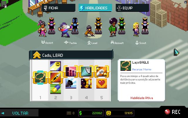 Cada coluna representa um grupo de habilidades onde uma só pode ser escolhida.