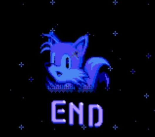 Este é o bad ending. Será que é por causa do good ending com todas esmeraldas que Tails se tornou imorrível imortal na versão de Mega?