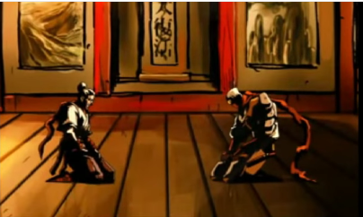 Jiro e seu mestre na cutscene inicial do jogo.