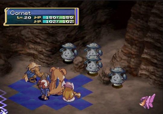 Exemplo de batalha na versão de PS.