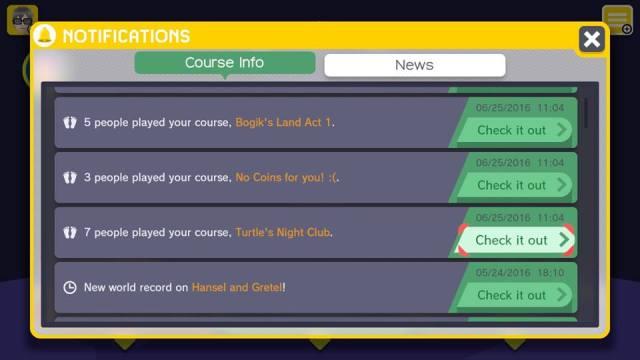 Você recebe notificações conforme as pessoas vão jogando e curtindo suas fases criadas.
