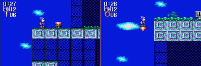 O pula-pula, muito útil para alcançarmos lugares mais altos com o Sonic. Com o Tails não precisa, ele voa.
