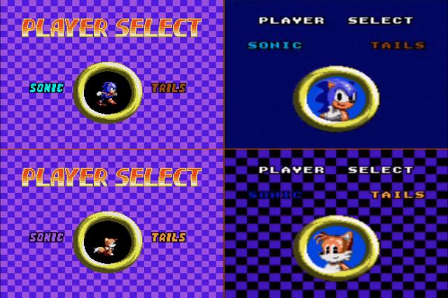 A tela de seleção de personagem é diferente nas duas versões também. Master à esquerda e Game Gear à direita, pra manter o padrão. A do portátil é bem mais bonitinha, não?