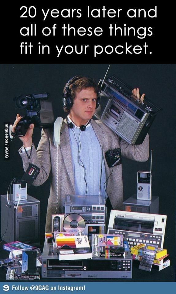 20 anos depois, um único aparelho que substitui todos estes da imagem e ainda cabe no seu bolso. Saudades dessa parte do passado? Acho que não, hein?