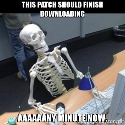 Jogos antigamente: colocou cartucho, jogou! Jogos hoje: coloca mídia, espera download de patch, espera mais, mais um pouco, espera instalar, pronto! Pode jogar!