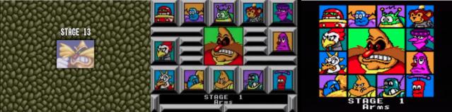 Introducão de Estágio em cada uma das versões. Da esquerda para a direita: Mega, Master, Game Gear.